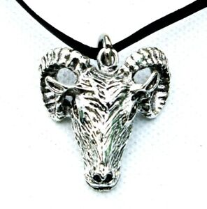Baphomet-Horned-Ram-Goat-Pendant-Necklace-Choker-Leather-ADJUSTABLE