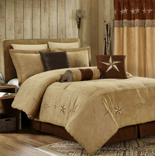 Chezmoi Collection 7-Piece Micro-suede Embroidery Western Star Comforter Set