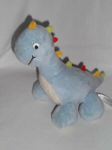 Happy Horse Plush Dinosaur Blue White Colorful Spikes Soft Baby