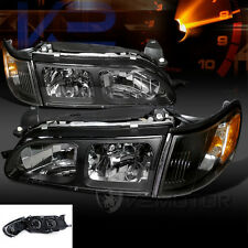 1993-1997 Toyota Corolla Crystal Black Headlights+Corner Signal Lamps