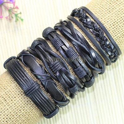 6pcs Genuine Leather Bracelet, handmade leather bracelets designs, Unisex-L33