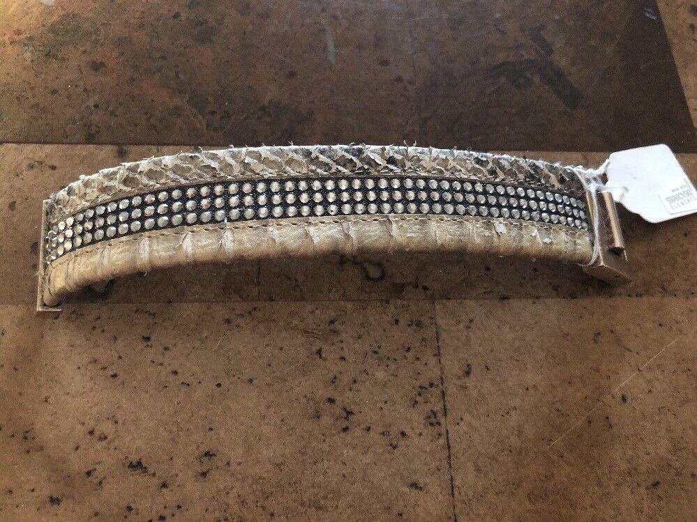 HEET  Designer Bracelet Taupe Brown Leather 3 Strand w  Swarovski Crystals