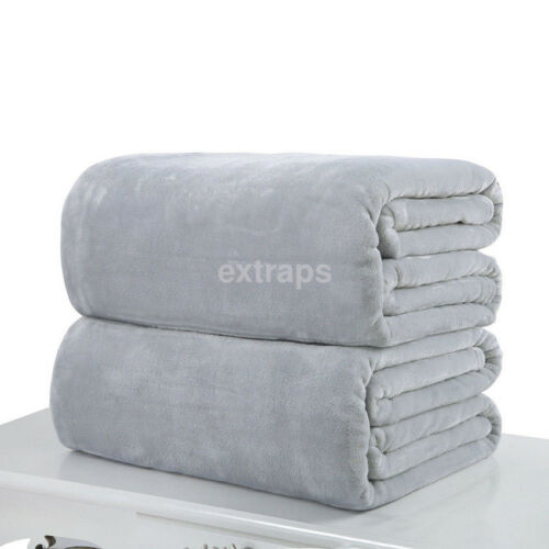 Super Soft Warm Solid Warm Micro Plush Fleece Blanket Throw Sofa Bedding US
