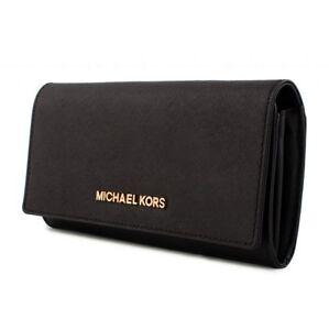 Details zu Michael Kors portemonnaie geldbörse jet set travel carryall schwarz silber neu