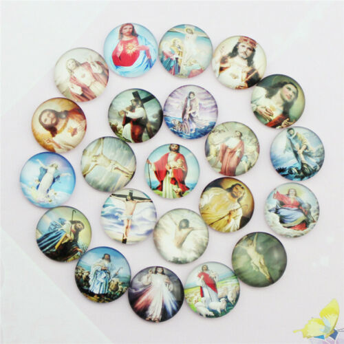 50PCS Round Glass Dome Cabochons Cameo Jewelry Photo Beads Christ 12//20//25MM