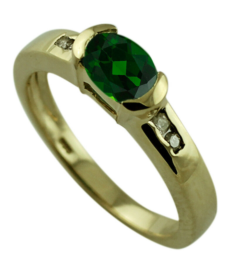 Natural Russian Chrome Diopside Ring Authentic Solid gold Engagement Top Jewelry