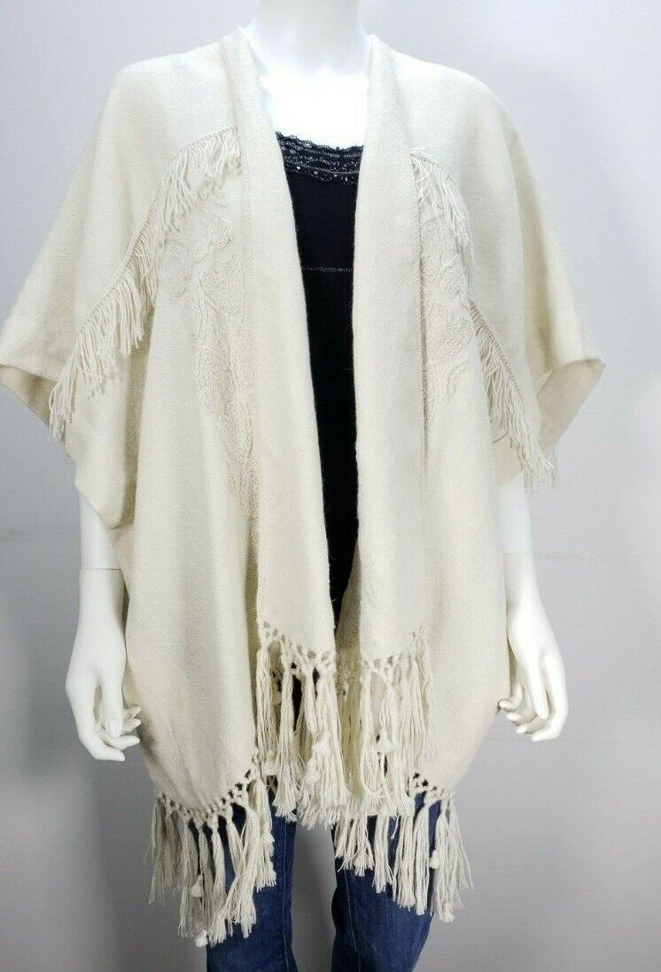 MS&Co Figue Cream Ivory Fringe Open Loose Poncho Women's ONE SIZE