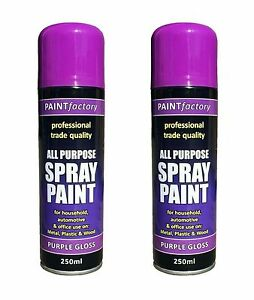 Image Is Loading 2x Multi Purpose Purple Gloss Varnish Spray Paint