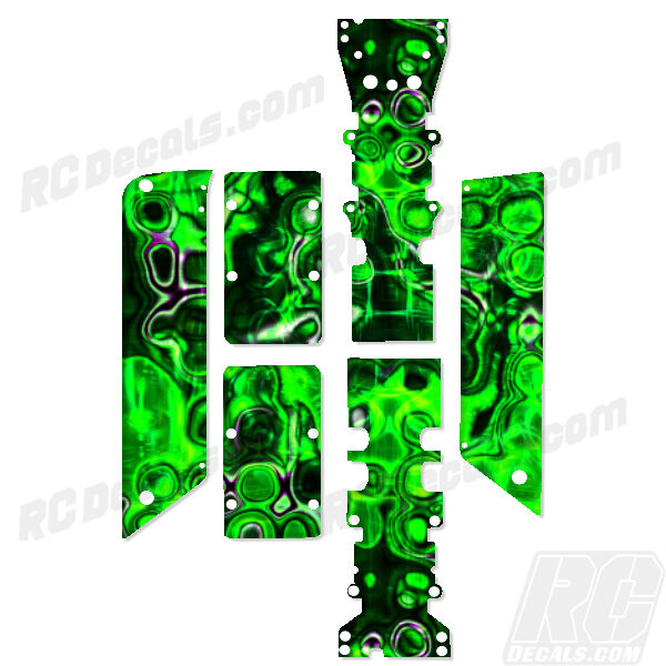 Traxxas E-Maxx - Chassis Plate + Skid Predector Decals - Bubbles Gn - TRA3922A
