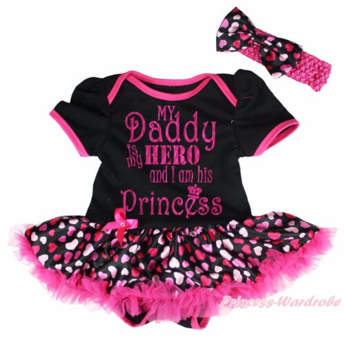 Daddy Is My Hero I am Princess Black Bodysuit Pink Heart Baby Dress Girl NB-18M