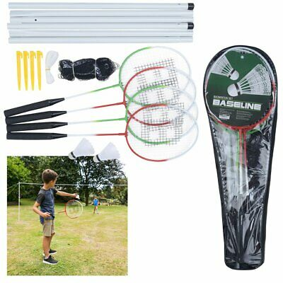 4 Player Badminton Set 4 Racket 2 Shuttlecock Net Carry Bag Outdoor Garden Games