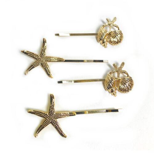 4 Slides Starfish Shell Star Gold Design Hair Gold Diamante Grips Kirby Clip S66