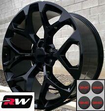 22 Inch Gmc Sierra 1500 Oe Replica Snowflake Wheels Gloss Black Rims 22 X9