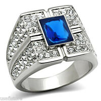 Mens Blue Sapphire Stone With Full Crystal Silver Stainless Steel Ring