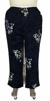 Plus Size We Be Bop Artsy Bunga Blue Crinkle Easy Pants 0x 3x 4x 5x