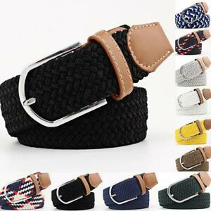 Mens-Webbing-Waist-Belts-Leather-Trim-Ladies-Elasticated-Woven-Braided-Stretch