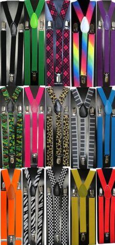 Costume Trouser Braces Suspenders Neon /& Patterned Fancy Dress Clown Gangster 80