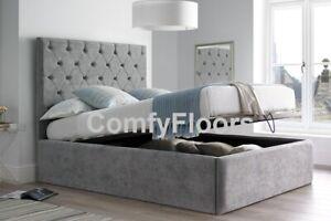 Fine Details About 6Ft Super King Size Soft Velvet Ottoman Bed Frame Lift Up Bed Black Silver Ibusinesslaw Wood Chair Design Ideas Ibusinesslaworg