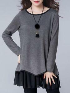 8b8d4878d82 PopJulia - H-line Paneled Crew Neck Casual Long Sleeve Dress- Gray ...