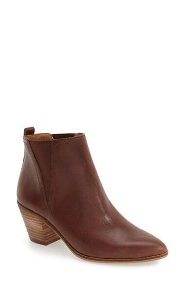 NIB Lucky Brand Lorry Double-Gore Point-toe Bootie Ankle Boot Toffee Gre 8