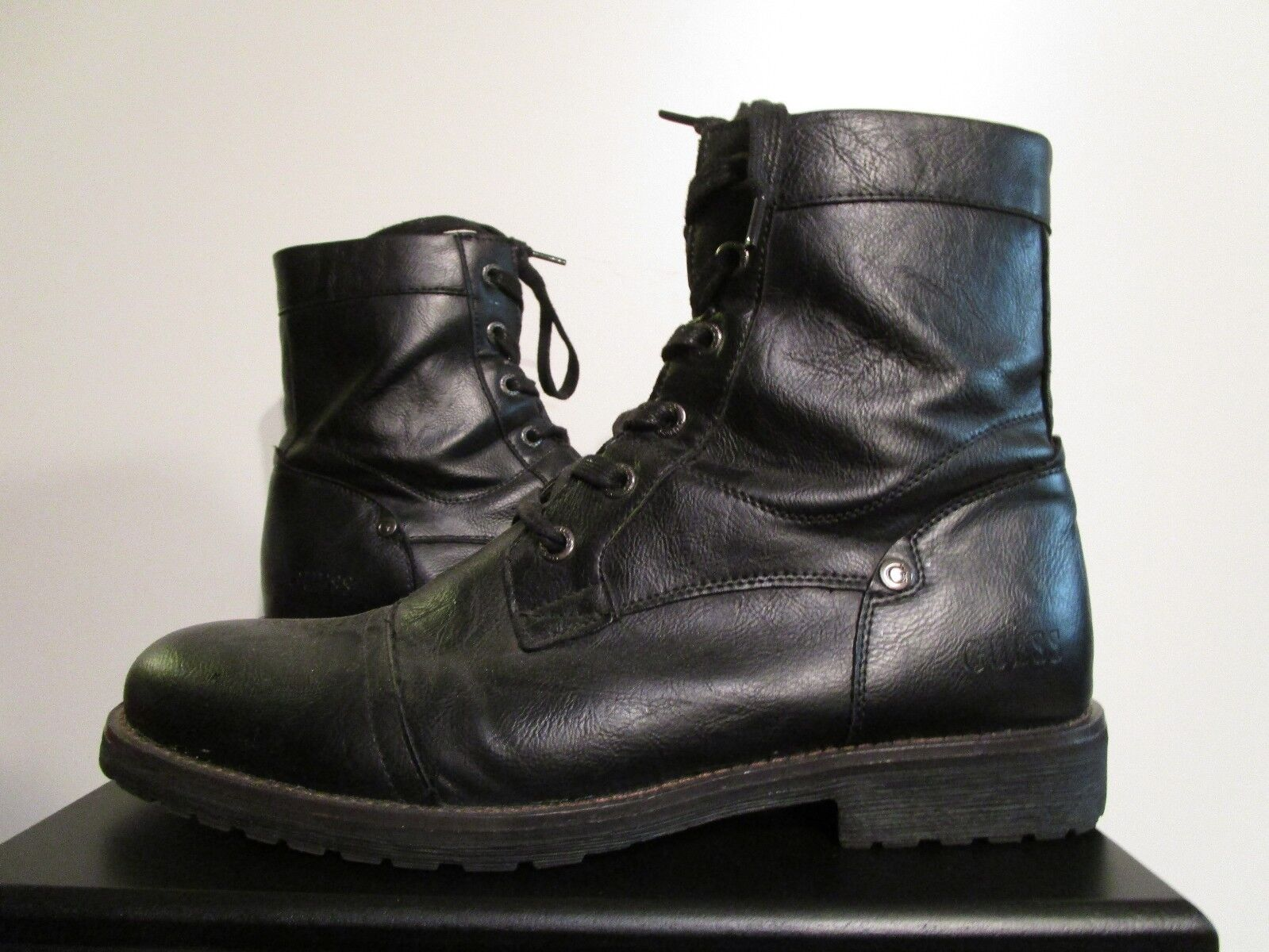 Mens 12 Guess Zip Up High Manmade Leather Fashion Casual Military Boots - Black