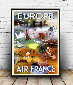 Europe-By-Air-Reproduction-Aviation-advert-poster-Wall-art