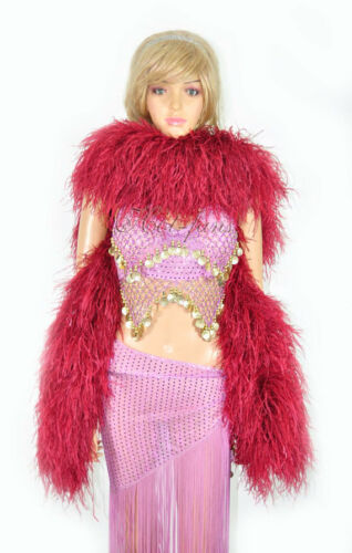 "180 cm burgundy Luxury Ostrich Feather Boa 20 ply fluffy long 71/"""