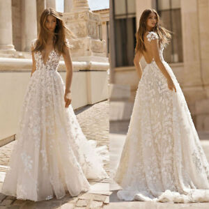 Sexy-Deep-V-neck-Beach-Wedding-Dresses-Lace-Applique-Backless-Bridal-Gown-Custom