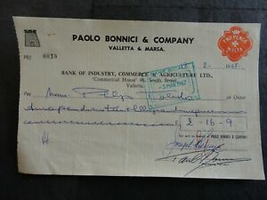 BICAL BANK CHEQUE WITH 2d REVENUE STAMP NO 39
