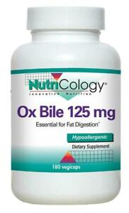 Nutricology OX BILE 125mg - 180 vcaps Digestive Gut Health
