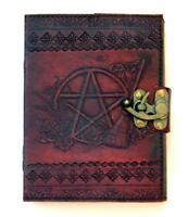 "5""x7"" Leather Bound Locking Pentagram & Broom Book of Shadows, Journal, Diary!"
