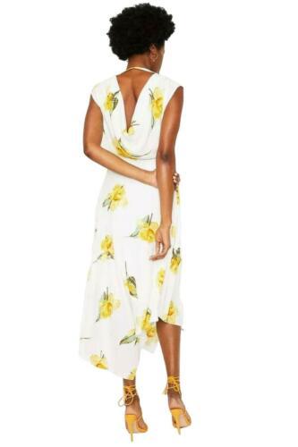 ex Warehouse White Floral V Neck Floaty Summer Dress Sleeveless Assymetric Hem