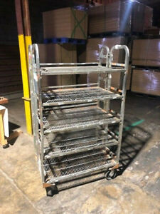 """Five Shelf Rolling Cart With 6"""" Wheels-2 Swivel and 2 Fixed-Fair Condition Used"""