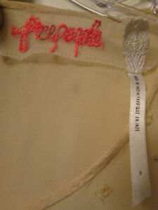 25376eff $250 Free People Glitter Rock Candy Beaded Babydoll Ivory Mini Dress 8 S M  NWOT