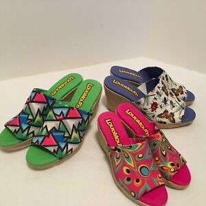 LOUDMOUTH-Women-039-s-Marlene-Wedge-Shoes-Pink-Psychedelic-Green-or-Bugs-Butterflies