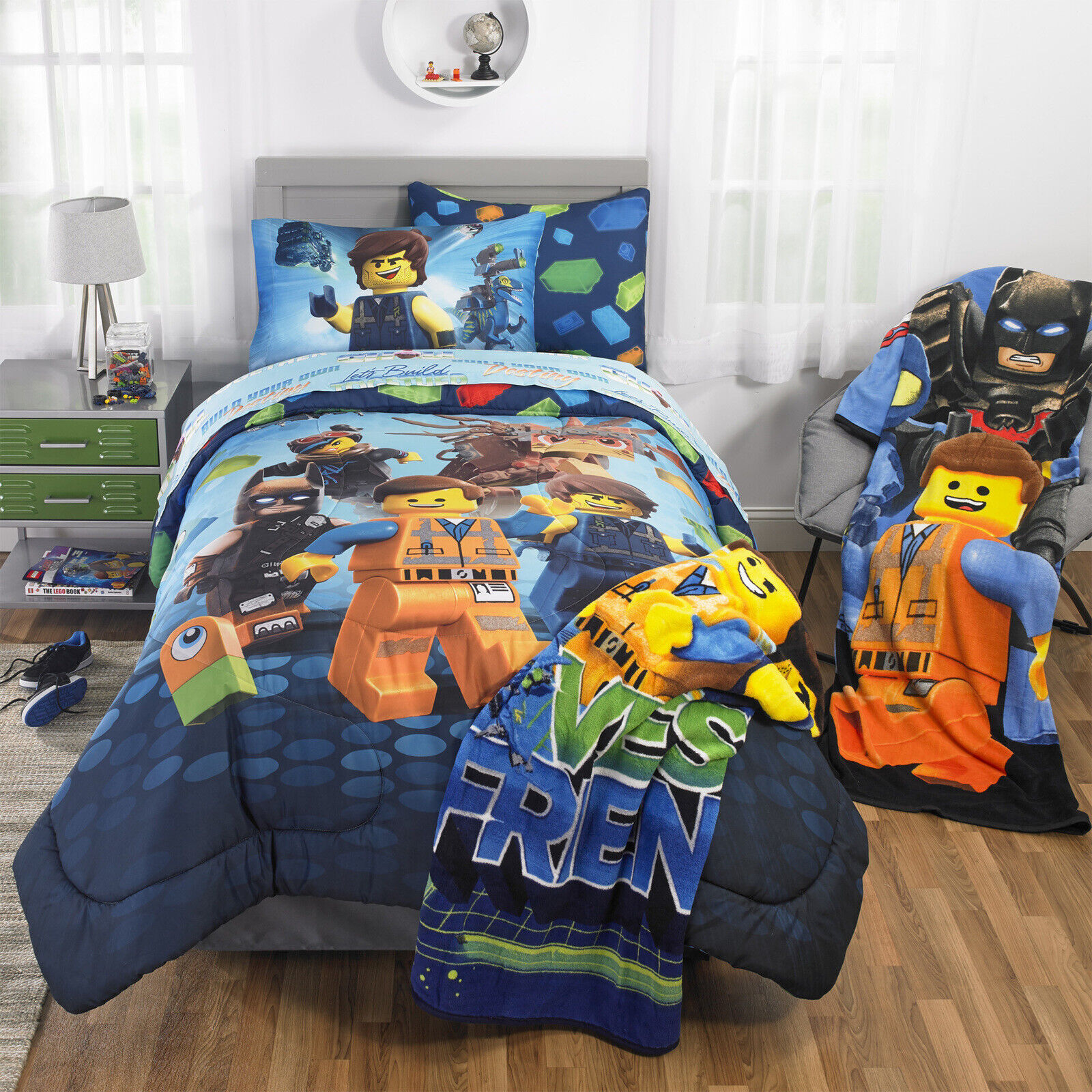 Lego Movie 2 Build Together Comforter Set with Sham Kids Bedding Twin Full Size