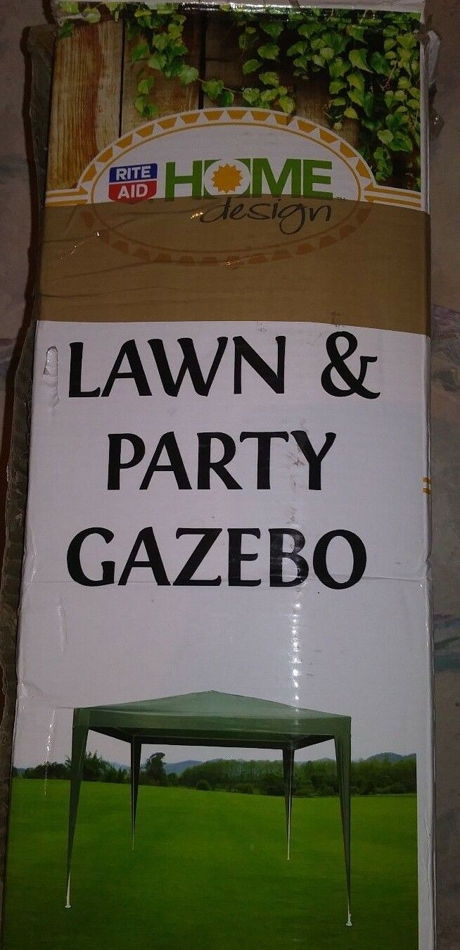 Lawn And Party Gazebo By Home Design 9 5 X 9 5 Green Top White Poles For Sale Online Ebay