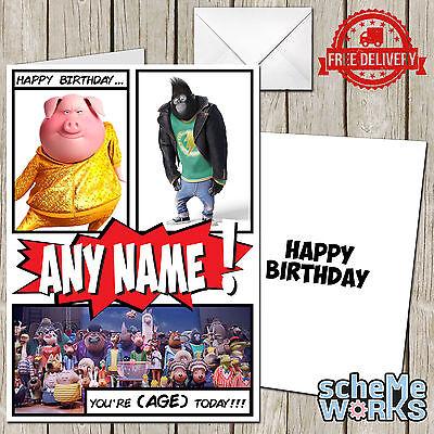 Sing Movie Film Personalised Greeting Birthday Card CA182