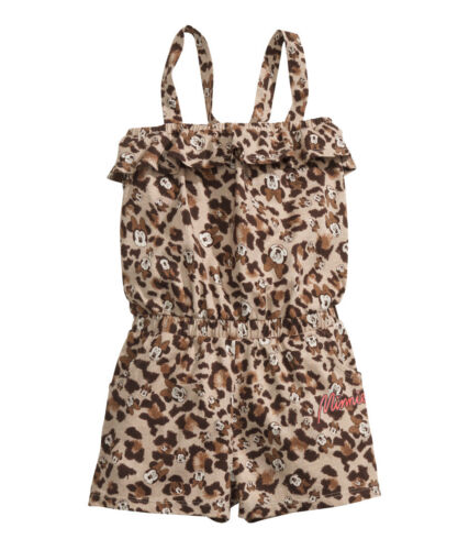 122//128 Leopardenmuster NEU H/&M Minnie Mouse Jumpsuit Overall Gr.110//116