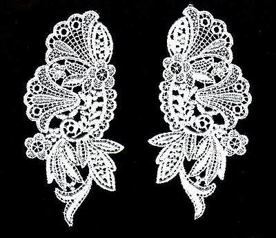 """Vintage Venise Lace Applique 6""""  Rayon Trim Bridal Fabric Krazy Quilt #1726 2pcs"""