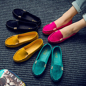 Womens-Suede-Casual-Ballet-Shoes-Flat-Loafers-Ladies-Ballerina-Slip-On-Moccasin