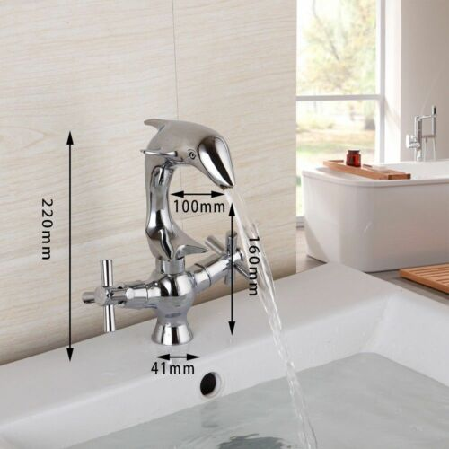 Bathroom Dolphin Shaped 2 Cross Handles Basin Sink Faucet Mixer Taps Chrome