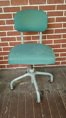 Vintage Harter Corporation Industrial Office Chair Rollers Mcm Lines Green Ebay