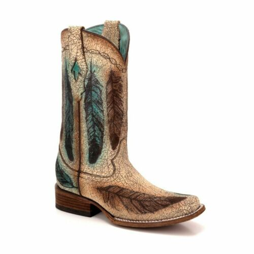 Corral Women/'s Sand Engraved Feather Square Toe Western Boots C3276