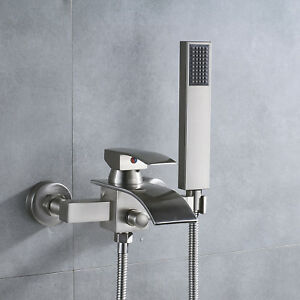 Wall Mount Tub Faucet Waterfall Spout Single Handle Mixer Tap Hand