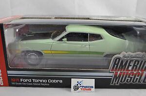 1-18-AUTOWORLD-ERTL-Elite-1971-Ford-Torino-Cobra-429ci-verde-claro