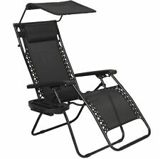 deck beach chair black folding furniture patio outdoor zero gravity cup holder