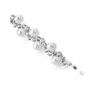Pearl Perlina e cristallo trasparente design Onda Capelli Clip Slide Grip PIN jewel
