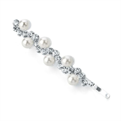 Pearl Bead and Clear Crystal Wave Design Hair Slide Grip Clip Pin Jewel