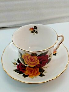 Queen-Anne-England-China-Tea-Cup-and-Saucer-Yellow-amp-Crimson-Roses